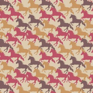 Lewis & Irene Farley Mount - 5580 - Galloping Horses on Beige - A229.1 - Cotton Fabric